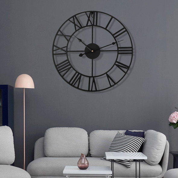 40cm 3D Wall Clock Retro Metal Roman Numeral Wall Clock Iron Round Large Outdoor Garden Home Office Decor Classic Industrial