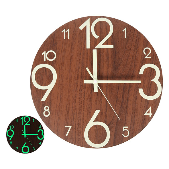 New Wooden Wall Clock Luminous Number Hanging Clocks Quiet Dark Glowing Wall Clocks Modern Watches Decoration for Living Room