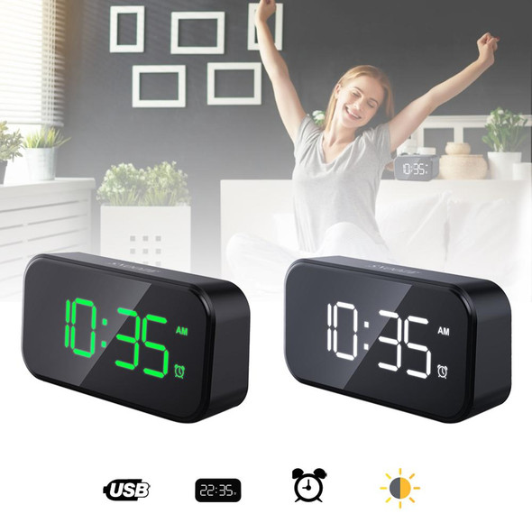 Home Bedroom Living Room Rechargeable Bedside Music Clock LED Mirror Alarm Clock Touch Activated Clock