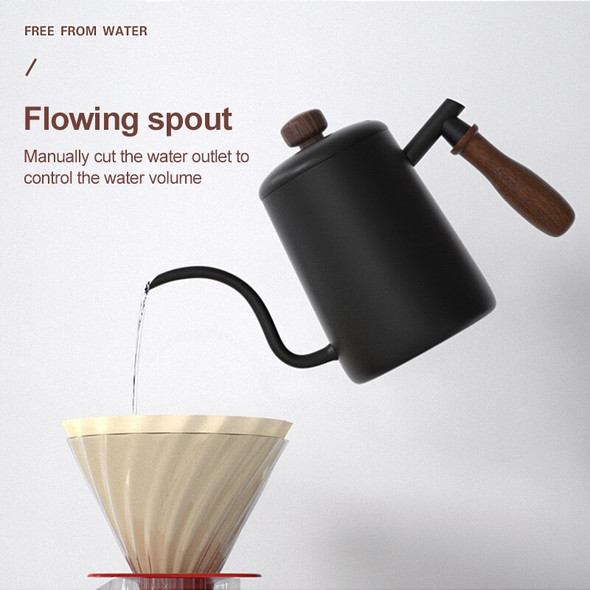 600ml Stainless Steel Coffee Pots Mounting Bracket Hand Coffee Punch Pot Lid Drip Spout Long Mouth Coffee Kettle Teapot