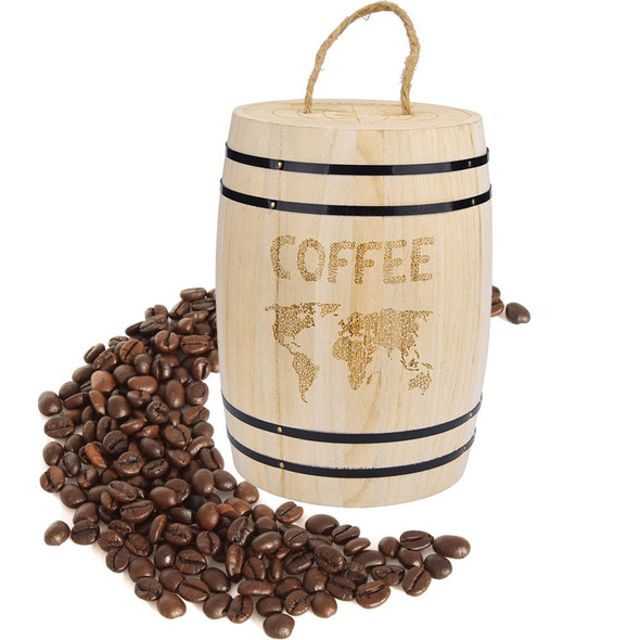 Coffee Beans 0ak Barrel Storage Grounds Kitchen Box Fresh Coffee Bean Airtight Container Wooden For Coffee Beans Grounds