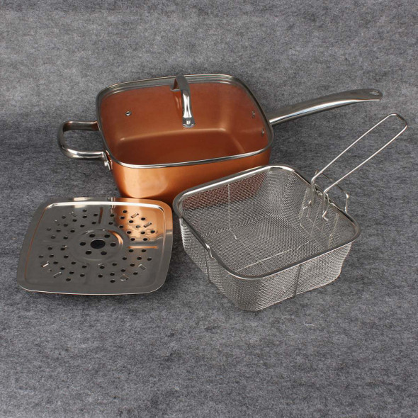 1Set Ceramic Non-Stick Pan Copper Square Pan Induction Chef Glass Lid Fry Basket Steam Rack 9.5 Inches Used In Induction