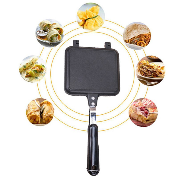 Double Side Grill Fry Pan Cookware Stainless Steel Double Face Pan Steak Bread Toast Fry Pan Kitchen Accessories Cooking Tool