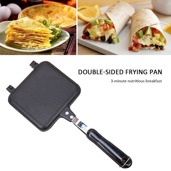 35cm Double Side Grill Fry Pan Cookware Stainless Steel Double Face Pan Steak Fry Pan Kitchen Accessories Cooking Tool New