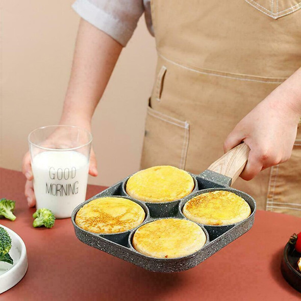 4 Hole Fried Egg Burger Pan Non-stick Ham Pancake Maker Wooden Handle Cookware For Gas Stove Induction Cooker Cocina Kitchen New