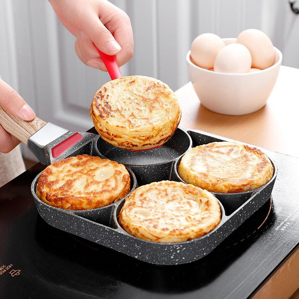 Four-hole Frying Pot Non-stick Thickened Omelet Pan Egg Pancake Steak Pan Cooking Egg Ham Pans Breakfast Grill Bacon Maker