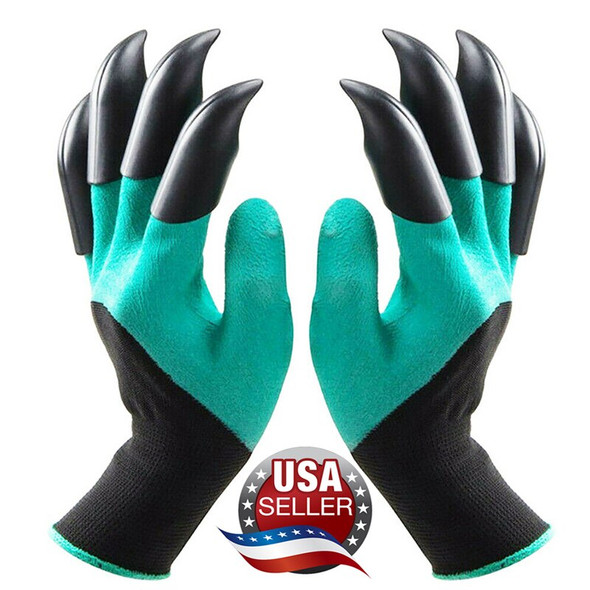 1 Pair Garden Gloves 4 ABS Plastic Garden Rubber Gloves With Claws Quick Easy to Dig and Plant For Digging Planting