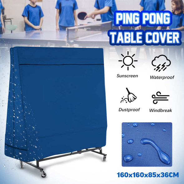 Ping-Pong Table Dust Covers Oxford Waterproof Outdoor Rain Wind Sun UV Resistant Tennis Table Storage Cover With Storage Bag