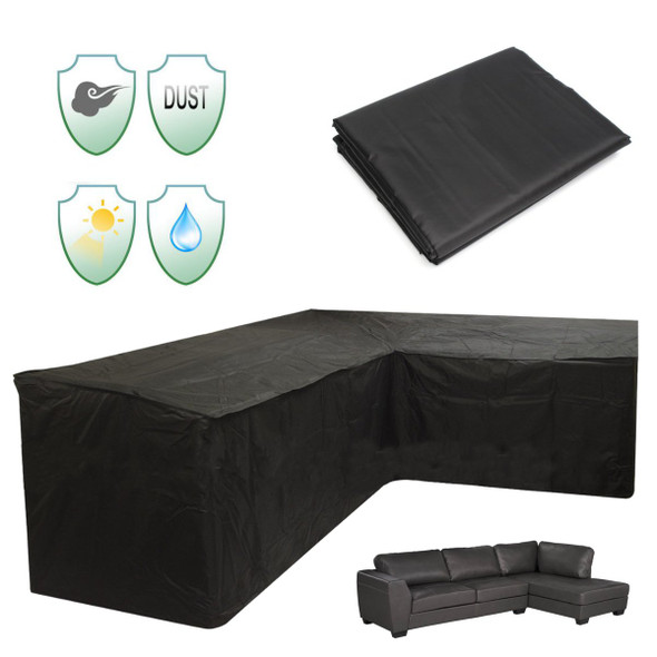Patio Sofa Cover Outdoor Sectional Furniture Cover Waterproof Garden Couch Cover L-Shaped  260x192x76x89cm