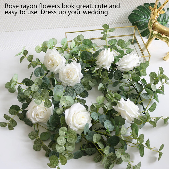 2M 5/6/7 Heads Silk Artificial Rose Vine Hanging Flower for Wall Decoration Rattan Plants Leaves Garland Wedding Home Decoration