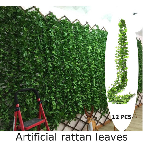 12pcs Artificial Vine leaves Green vine ivy Leaf Garland Plant Fake Foliage Plants For Wedding Decoration Simulation Hanging Ivy