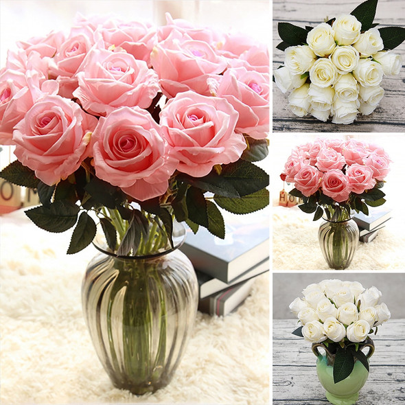 18pcs/lots Artificial Rose Flowers Silk cloth Flower for Home Party Decoration Wedding Bouquet Flowers Fall Decor Fake Flowers