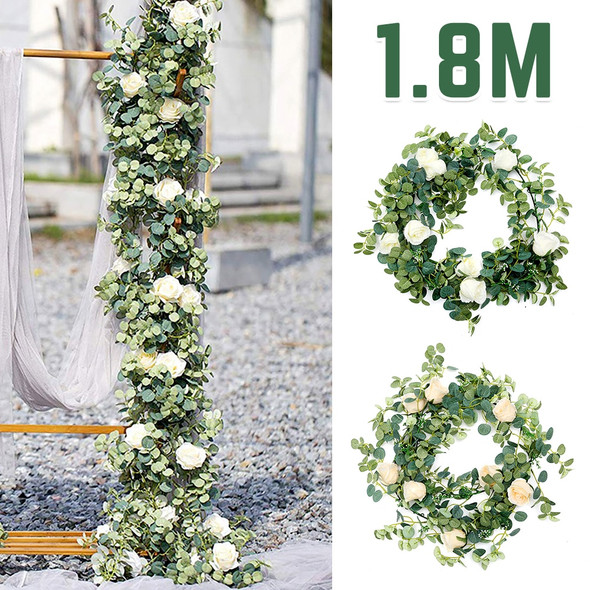 1.8M Artificial Eucalyptus with Rose Garland Hanging Rattan Vertical Garden Home Table Party Wedding Backdrop Wall Decor Vine