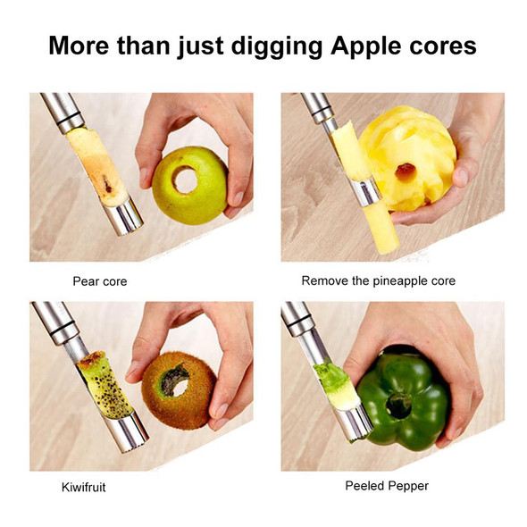 1Pc Stainless Steel Apple Corer Fruit Seeder Pitter Core Remover Easy Twist Apple Pear Knife Fruit Tools Kitchen Gadgets
