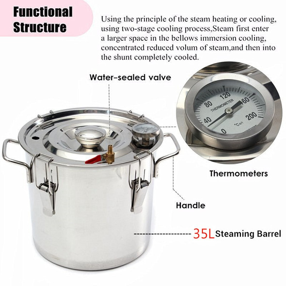 8GAL/35L Distiller Moonshine Alcohol Stainless Copper DIY Home Water Wine Essential Oil Brewing Kit