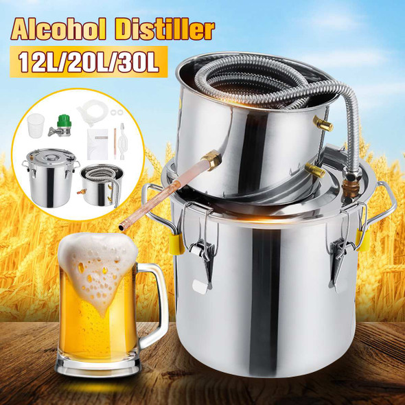 10L/20L/30L Stainless Steel Distiller Moonshine Copper Home Alcohol Water Essential Oil Brewing Kit