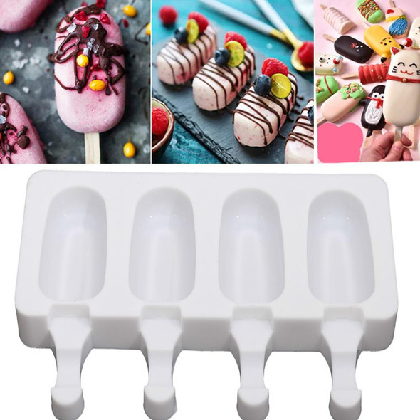 4 Cell Big Size Silicone Ice Cream Mold Popsicle Molds DIY Homemade Dessert Freezer Fruit Juice Ice Maker Mould with Sticks