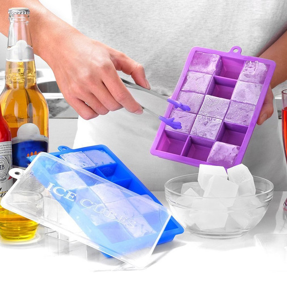 15-Hole Food Grade Silicone Ice Cube Mold Whisky Ice Tray with Lid Square-shape DIY Ice Mold-20