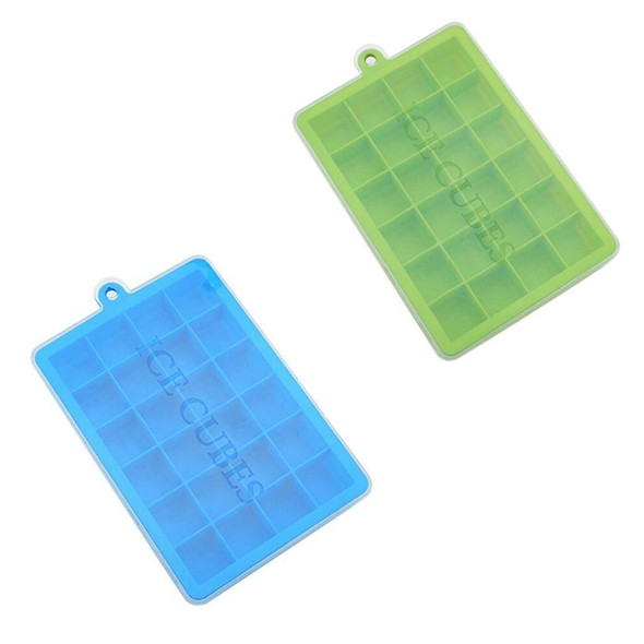24-hole silicone ice tray with lid Square ice box Silica gel Food supplement puree Cheese Jelly Mould Baking Kitchen