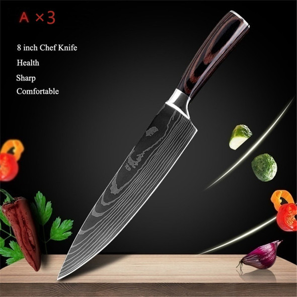 3PCS Kitchen Knives Stainless Steel Laser Damascus Pattern Chef Knife Sharp Cleaver sushi knife Slicing Utility Knives Tool
