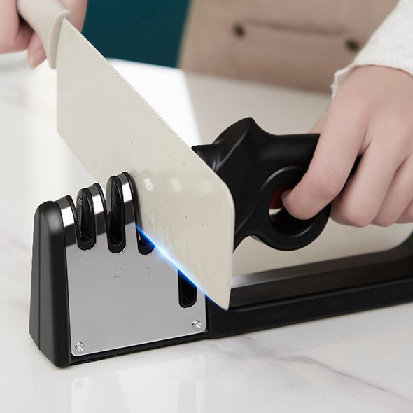 Kitchen 4 Stage Knife Sharpener for Straight Knives and Scissors Diamond Tungsten Steel and Ceramic Rod Restore and Polish Blade