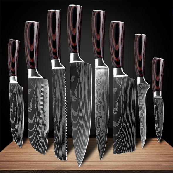 Kitchen Knives Stainless Steel Laser Damascus Pattern Chef Knife Sharp Cleaver Slicing Utility Knives Tool Kitchen Accessories