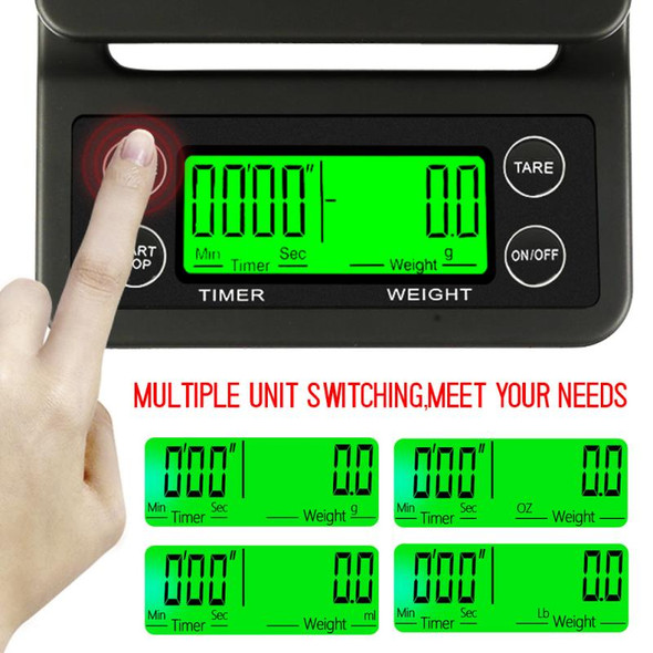 0.1g Drip Electronic Coffee Scale With Timer Portable LCD Digital High Precision Kitchen Scale Drinking Coffee Electronic Scales