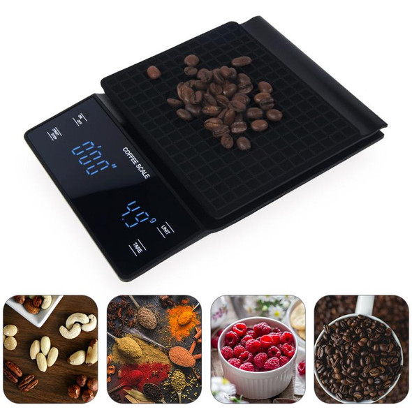 3kg 0.1g Portable Coffee Drip Scale Digital Jewelry Scale Digital LED Display With Timer Household Kitchen Electronic Scale