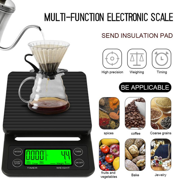 0.1g Drip Coffee Scale With Timer Portable Electronic LCD Digital Kitchen Scale High Precision Drinking Coffee Electronic Scales