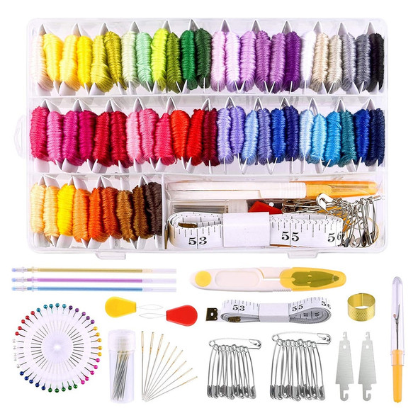 158Pcs DIY Embroidery Cross Stitch Tool Set Sewing Tools Accessories Embroidery Floss Organizer Cross-Stitch Thread Sewing Kit