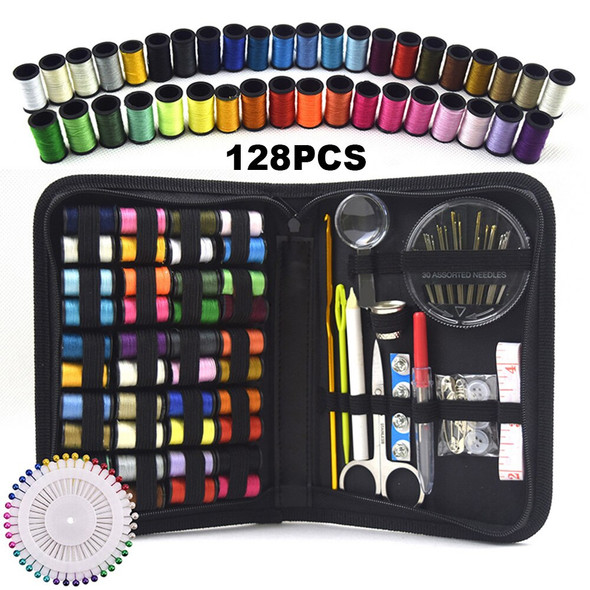 128pcs Sewing Kits DIY Multi-function Sewing Box Set for Hand Quilting Stitching Embroidery Thread Sewing Accessories