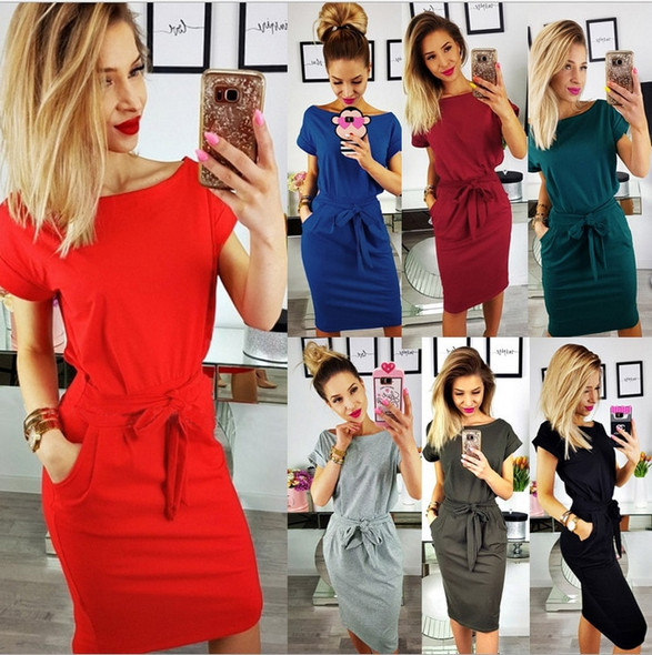 2020 European and American Summer Fashion Solid Color Wan Sleeved V-neck Womens Shirt Dress Size : S-XXXL  A-176