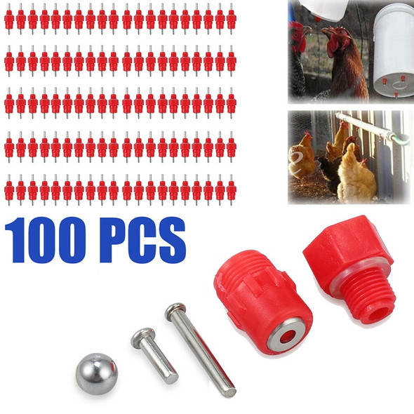 100 Pcs Spring Type Chicken Red Nipples Drinking Chicken With Automatic Water Dispenser Chicken Mouth bird Drinking Water