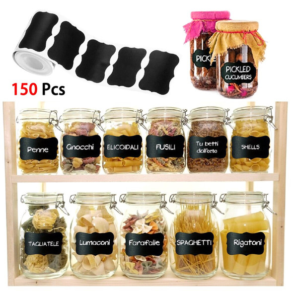 150pcs Waterproof Slate Sticker Kitchen Household Decorations As Name Tag For Wedding Birthday Spice Label Stickers Jar Bottle