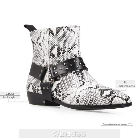 WETKISS Chunky Heel Ankle Boots Woman Rivets Strap Snakeskin Booties Square Toe Zipper Winter Boot Metal Stud Stone Shoes Women
