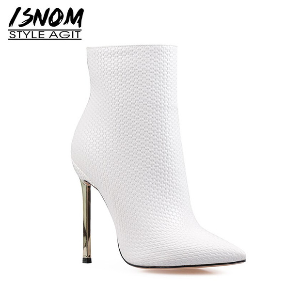 ISNOM Woven Ankle Boots Stiletto Heel Women Sexy Pointed Toe Thin High Heels Booties Party Shoes Woman Fashion Winter Big Size