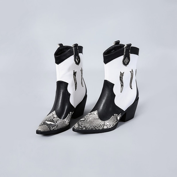 WETKISS Snake Skin Pu Western Boots Women Cowboy Ankle Boot Female High Heels Shoes Ladies Pointed Toe Shoes Women Winter BIG 45