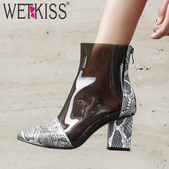 WETKISS Snake Skin Boots Women Clear Pvc Ankle Boot Female High Heels Shoes Ladies Pointed Toe Shoes Women Spring Plus Size 44