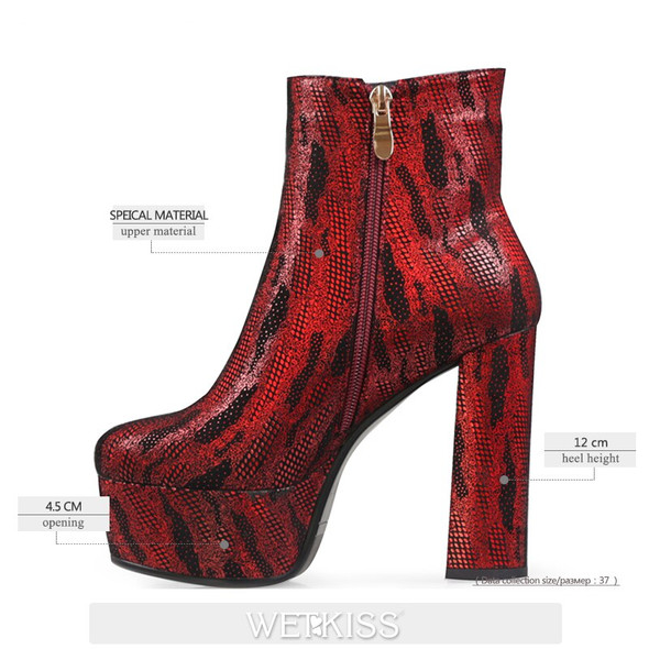 WETKISS New Fashion Ankle Boots Women Super High Heels Booties Thick Platform Shoes Woman Winter Boot Dress Shoes Lady Party
