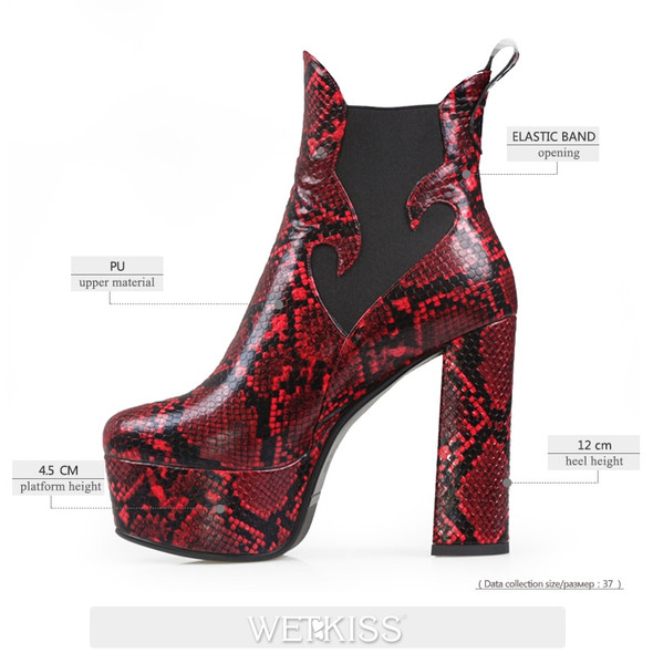 WETKISS Super High Heel Booties Women Snakeskin Ankle Boots Thick Platform Shoes Woman Winter Boot Chelsea Thick Heel Shoes New