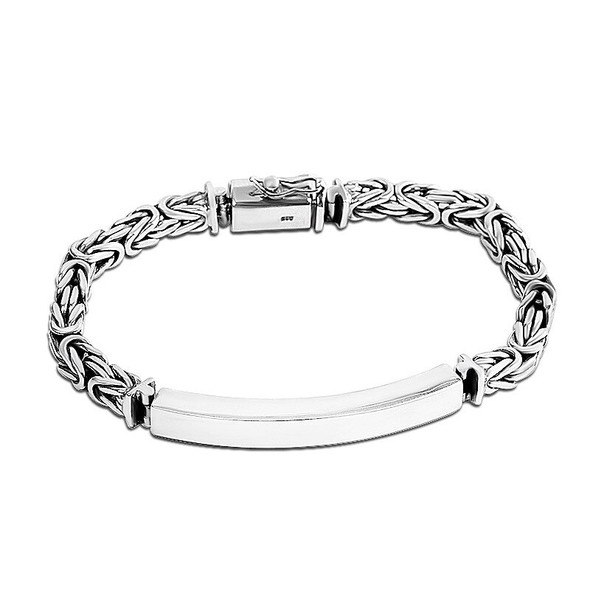 925 Silver Accessories Cool Mens Ping An Pattern Bracelet