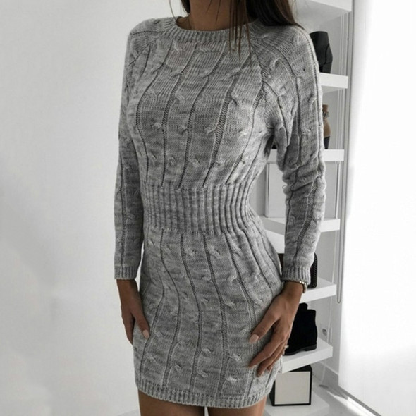 2019 Womens Knitted Dress Autumn Fall Winter Vintage Ladies Slim Sweater Dress Long Sleeve Knit Bodycon Dresses ropa mujer D20