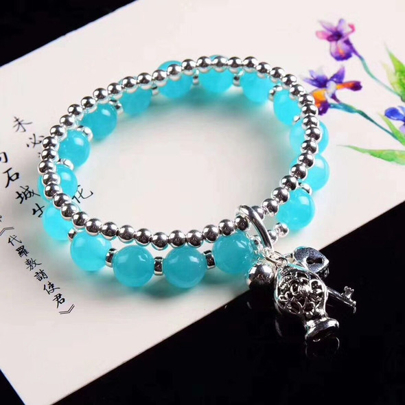 MetJakt S925 Sterling Silver Fashion and Exquisite Handmade with Tianhe Stone Ladies Bracelet