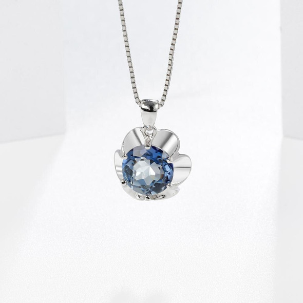 Gems Ballet 2.73Ct Natural Iolite Blue Mystic Quartz Pendant Necklace for Women 925 Sterling Silver Flower Gemstone Jewelry