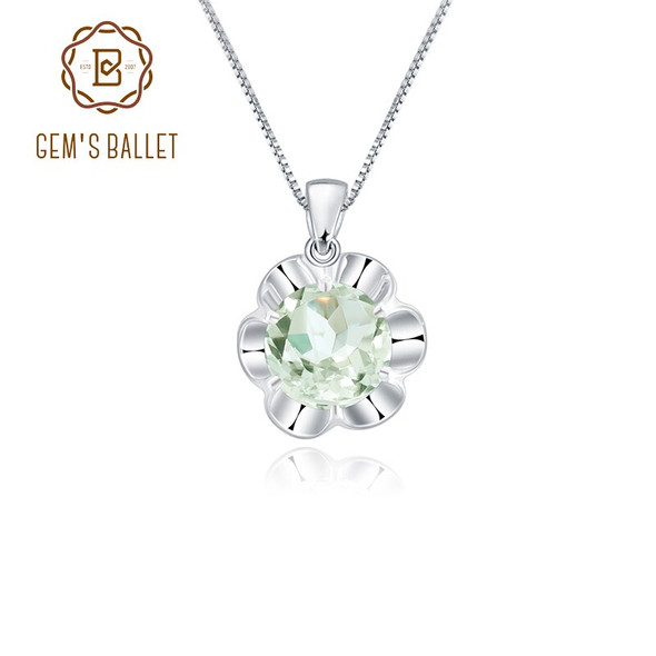 Gems Ballet 2.73Ct Natural Green Amethyst Pendant 925 Sterling Silver Green Flowers Womens Gemstone Necklace Fine Jewelry