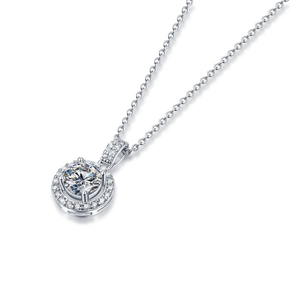 GEMS BALLET 1.0Ct D Color Twinkle Round Moissanite Diamond Pendant Necklace for Women 925 Sterling Silver Moissanite Jewelry