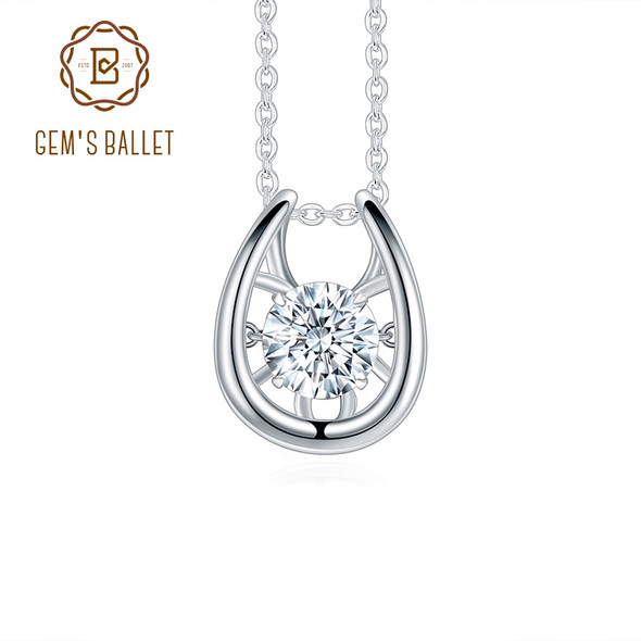 GEMS BALLET 1ct Twinkle Moissanite Diamond Pendant Necklaces For Women Wedding 925 Sterling Silver Shiny Moissanite Jewelry