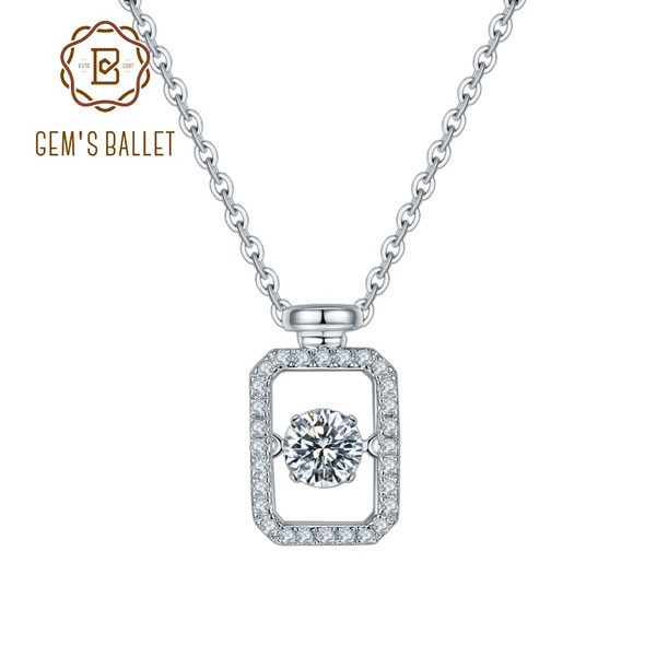 GEMS BALLET 5mm 925 Sterling Silver Rectangle Moissanite Pendant Twinkle Setting Necklace For Women Jewelry