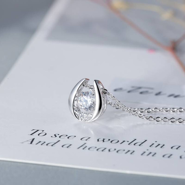 GEMS BALLET 5.0mm 0.5Ct Shiny Moissanite Diamond Pendant Necklace For Women Wedding 925 Sterling Silver Moissanite Fine Jewelry