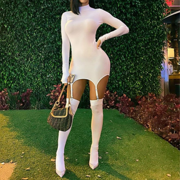2020 Autumn Long Sleeve Bodycon Party Mini Dress Sexy Club Wear Come With Stockings Winter Women Fashion Streetwear Outfits
